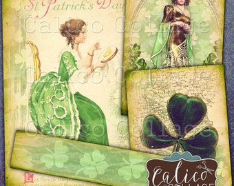 Printable St Patricks Day Digital Collage Sheet, Green Ephemera, Vintage Printables, Journaling Cards, Journal Spots, Junk Journal Cards