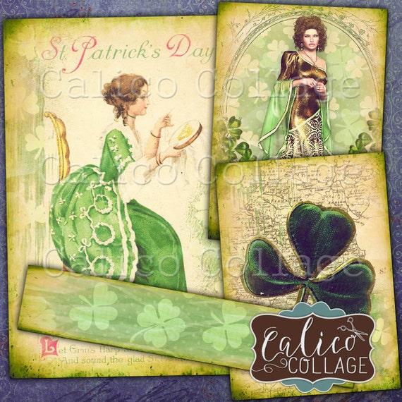 Printable St Patricks Day Digital Collage Sheet, Green Ephemera, Vintage Printables, Journaling Cards, Journal Spots, Junk Journal Cards
