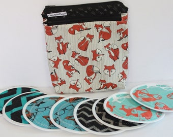 Wet dry bag ,Fox, Nursing pad pouch, cotton print, pul, and/or 4 pairs nursing breast pads