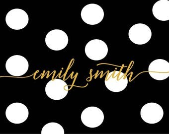 Dotted personalized custom note cards graduation birthday bridesmaid wedding bridal party stationary black dotted gold personalization