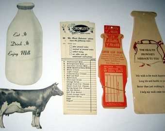 5 Pieces of Vintage Milk Dairy Ephemera - Cow, Milk Bottles, Brownies