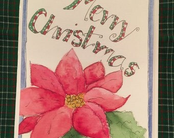 5 Merry Christmas Poinsettia Watercolor Cards w/envelopes