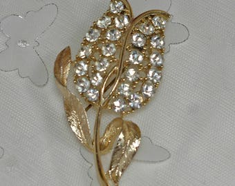 Vintage Tulip  Pin with Rhinestones