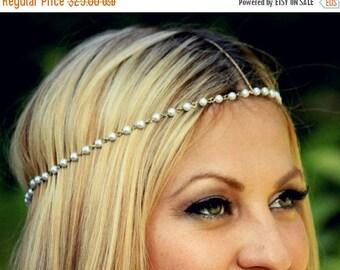 ON SALE CHAIN Headpiece- pearl and gold chain headdress head piece / boho chic