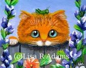 Orange Tabby Cat Art Print of Original Painting 4x4 Canvas Creationarts