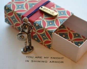 Brave Knight Message Box with Tiny Pewter Knight and Reusable Fabric Gift Bag