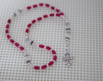 Czech Crystal & Dark Pink Riverstone Rosary - Anglican or Catholic - Made to Order