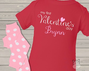 Baby's First Valentine's Day RED long sleeve bodysuit and matching leg warmers set VDFDLSO