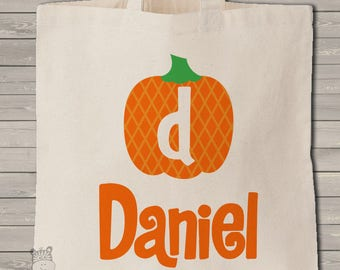Trick or treat bag monogram Halloween bag simple and clean use year after year MBAG1-045