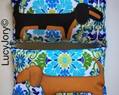 Dachshund  Set of two  Hand Painted Pillows