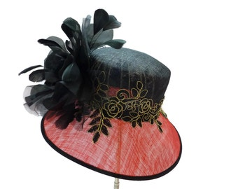 "Women's Kentucky Derby Hat, Easter Hat, Wedding Guest Hat, Tea Party Hat in Black, Red and Gold  - ""Stunning on Sloane Street"""