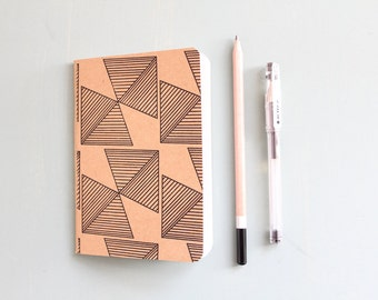 Brown Pocket Notebook with Black Geometric Print