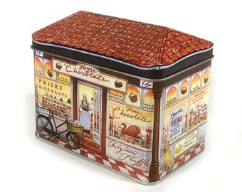 "Vintage Tin Building Box, ""House of Chocolate"", Peaked Roof Tin, Store Front, Chocolate Store"