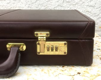 Vintage Briefcase, Dark Burgundy Faux Leather Briefcase with Combination Locks, Gold-Toned Hardware
