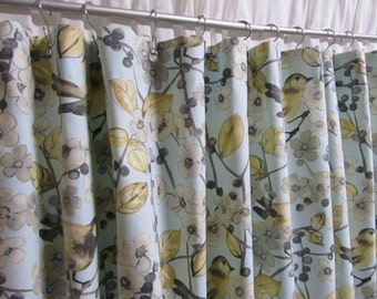 Light Blue Floral Shower Curtain, Bird Shower Curtain, Pastel Shower Curtain, Bird Bathroom Decor, Cottage Chic Decor