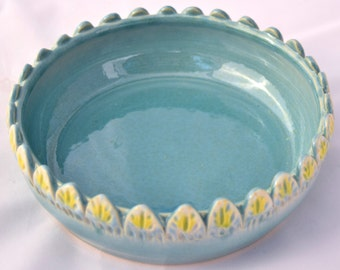 Robins Egg Blue and Yellow Mini Casserole Dish / Brie Baker - Ceramic Stoneware Pottery