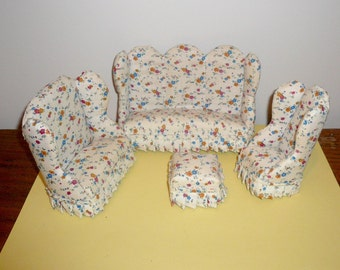 Dollhouse Living Room Set Couch Loveseat Chair Ottman Miniature Furniture SALE