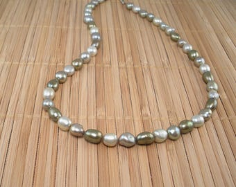 """Green Pearl Necklace Chunky Pearl Necklace Freshwater Pearls Big Pearls  Sage Green Necklace Baroque Pearls Light Green Pearls 18"""" Rare Find"""