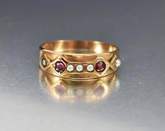 Sale Antique Rose Gold Ruby Ring, Edwardian Engagement Ring, Gold Wedding Band Ring, Antique Pearl Ring, July Birthstone Boho Stacking Ring