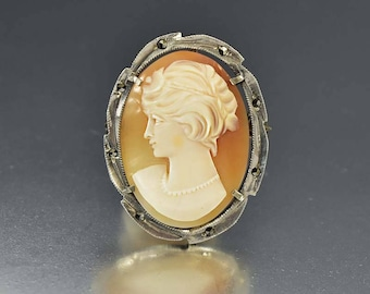 Antique Shell Cameo Brooch Pendant, Silver Marcasite Brooch, Edwardian Maiden Cameo Pendant