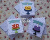 Happy Birthday - Set of 5 handmade sweet mini cards or gift tags with cake and candle