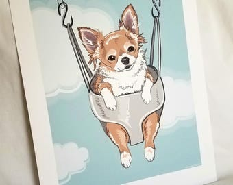 Swinging Long-haired Chihuahua - Eco-friendly 7x9 Print