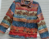Jacket Coat Jane Ashley Small Horse Boot Tapestry Multi-Color Excellent Lightweight Western Southwest Rustic Colors