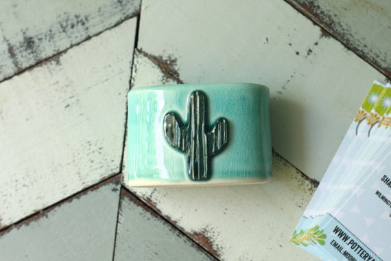 Cactus card holder in aqua