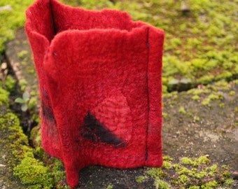 Felted Cuff Bracelet Red Merino Wool with Upcycled Hand Painted Silk Scraps Gift for Her Cuff-015