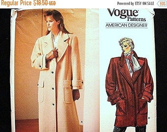 SALE 25% Off 1980s Vogue Designer Pattern Anne Klein Womens Coat Pattern Misses size 12 UNCUT Very Loose fitting Lined Coat Sewing Pattern