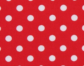 160891 red Michael Miller fabric small white polka dots