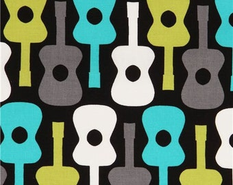 171661 black guitar fabric by Michael Miller from the USA
