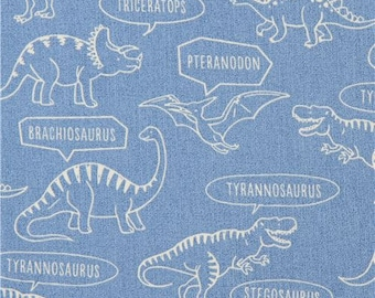213041 blue with dinosaur and name oxford fabric by Kokka