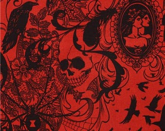 175579 dark red raven spider skull fabric by Alexander Henry USA