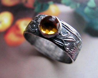 Citrine Sterling Silver Ring, Wide Band, Patterned Ring Band, Yellow Ring Size 8