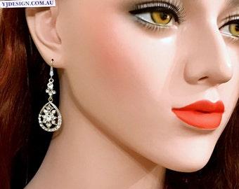 Crystal Bridal Earrings, Gatsby Wedding Earrings, Swarovski Bridal Jewelry, Art Deco Wedding Jewelry, Teardrop Dangle Earrings, DECORES