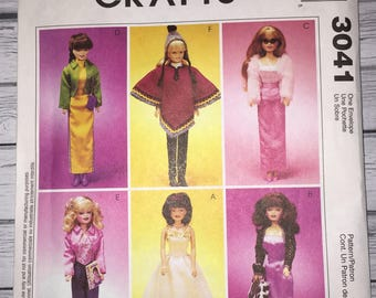 Mccalls Crafts 3041 Poncho Dresses Gowns Fashion Doll Clothes 11.5 Inch Barbie Dolls Sewing Pattern UNCUT