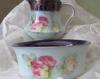 Pretty Roses - Child's Size Milk Jug and Sugar Bowl - Children's Tea Set - Antique Edwardian Early 1900s