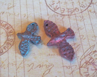 Hand Made Set of 2 Polymer Clay Bird Beads- Mother and Child, Son, Daughter, Sister, Brother, Red Bird, Blue Bird, Mothers Day, Fathers Day