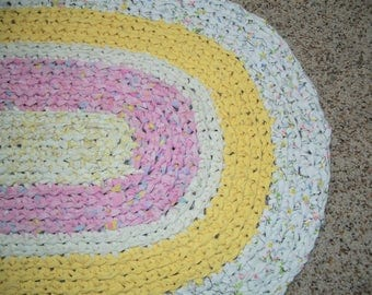 Oval Crocheted Rag Rug in Pink, Yellow, and White, Cottage Style, Shabby Chic, Upcycled, Made in America