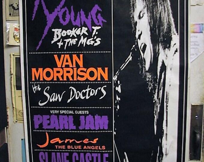 1993 Neil Young Pearl Jam Van Morrison Slane Castle Subway Poster, Huge Original Concert Poster, Saw Doctors James 4 Non Blondes Blue Angels