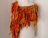 recycled silk boho chic  tattered scarf wrap handknitted by plumfish tumeric orange