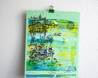 CLIFFHANGER #14 beach cityscape in California colors on mint green by Kathryn DiLego
