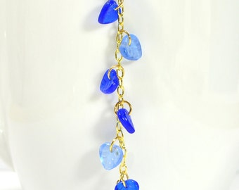New - Leaf Hair Charm Hair Beads Beaded Hair Clip Beaded U Pin Blue Gold Geisha Hair Pin Hair Dangle Snap Clip Hair Comb or Hair Fork