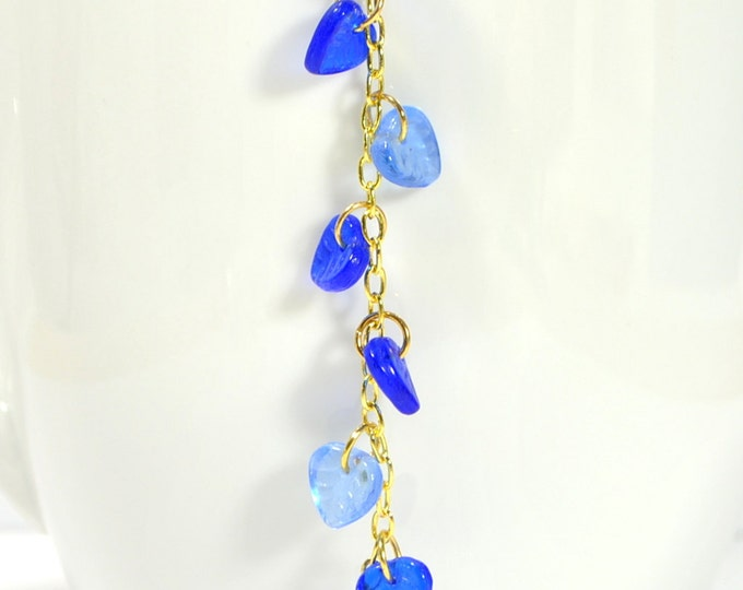 Hair Charm Blue Leaf on Gold Chain Hair Beads on Snap Clip Hair Comb or Hair Fork