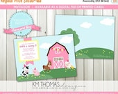 15% OFF Barnyard Girl Birthday Invitation: Girls Birthday - Farm Animal Birthday Invitation - Party Invite - Digital - Printable - #115
