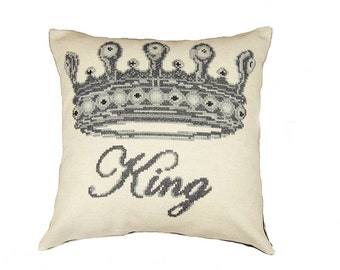 Cross stitch pattern,KING crown,embroidery pattern,cross stitch,needlepoint pillow,needlepoint,needlepoint pattern,anette eriksson,swedish