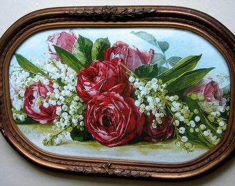 Roses, Print, Paul de Longpre, Antique Frame, Half Yard Long, Art Print, Shabby Chic, Vintage