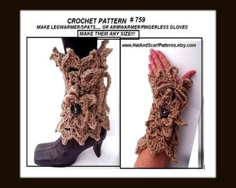 Lacy Leg Warmers,CROCHET PATTERN -  Boot Cuffs, Or Arm Warmers, Fingerless Gloves...Make ANY size- Make both with this pattern.  Patt. # 759