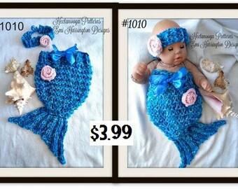 KNITTING PATTERN - Mermaid Tail, Photo prop, Fits newborn to 6 months, Headband, Knit Flower, # 1010, Easy beginner, free crochet pattern